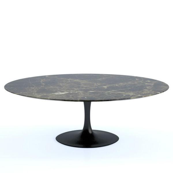 knoll saarinen tulip dining table oval marble brown emperador designer contemporary furniture