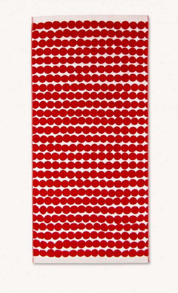Marimekko Red Räsymatto Bath Towel Designer Contemporary Homeware