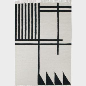 Kelim Rug Black Lines Large-0