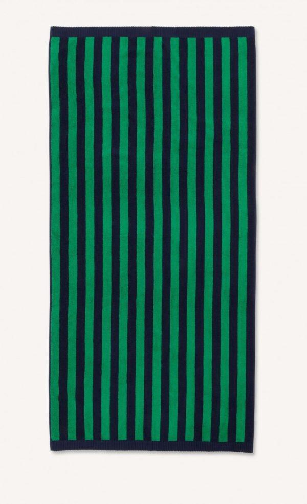 Marimekko Navy Green Kaksi Raitaa Bath Towel Designer Contemporary Accessories