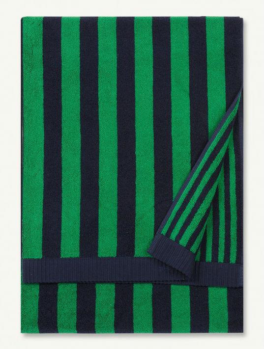Navy Green Kaksi Raitaa Bath Towel-0