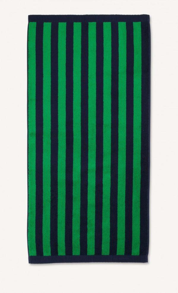 Marimekko Navy Green Kaksi Raitaa Hand Towel Designer Contemporary Accessories