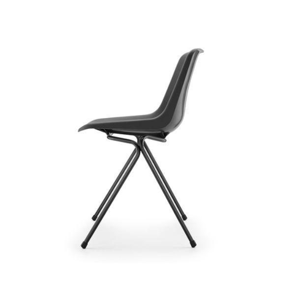 Robin day Polyside Chair Black Legs Charcoal