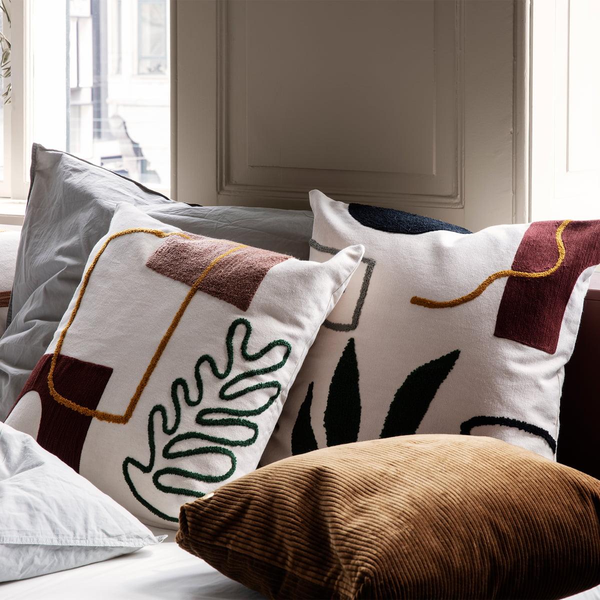 Ferm Living Mirage Leaf Cushion Lifestyle Contemporary Designer Homeware