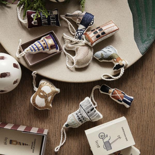 Ferm Living Copenhagen Embroidered Ornaments Lifestyle1 contemporary designer homeware