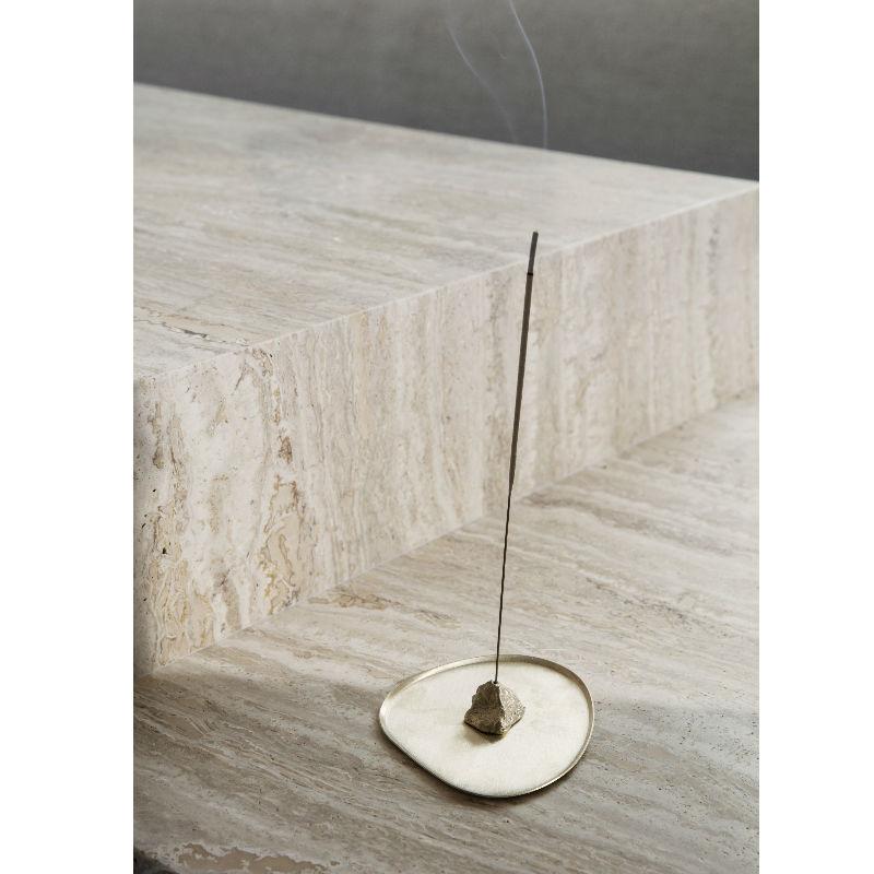 Ferm Living Stone Incense Burner Brass Lifestyle 1 Contemporary Designer Homeware