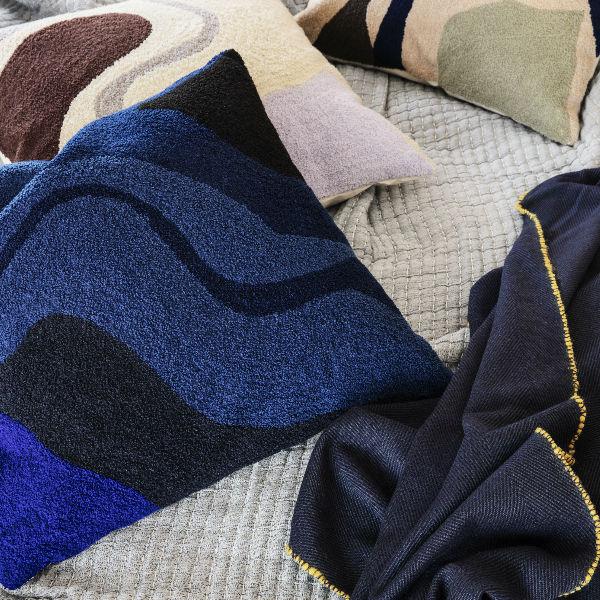 Ferm Living Vista Cushion Dark Blue Lifestyle 1 contemporary designer homeware