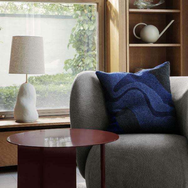 Ferm Living Vista Cushion Dark Blue Lifestyle 2 Contemporary designer homeware