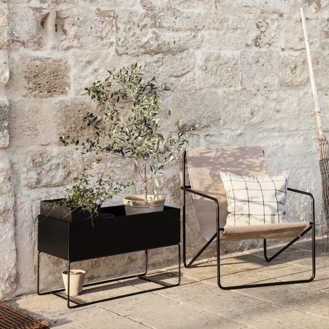 Plant box large black ferm living lifestyle contemporary designer plant pot