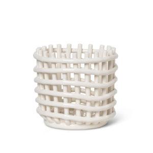 Ferm living ceramic basket small white