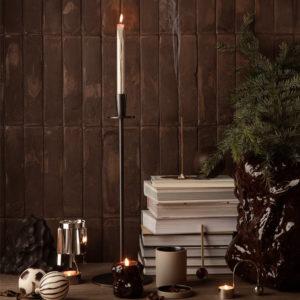 ferm-Living-Hoy-Casted-Candle Holder Black Lifestyle