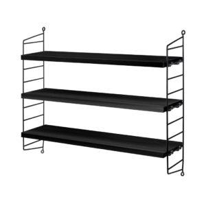 String pocket shelving black contemporary designer furniture