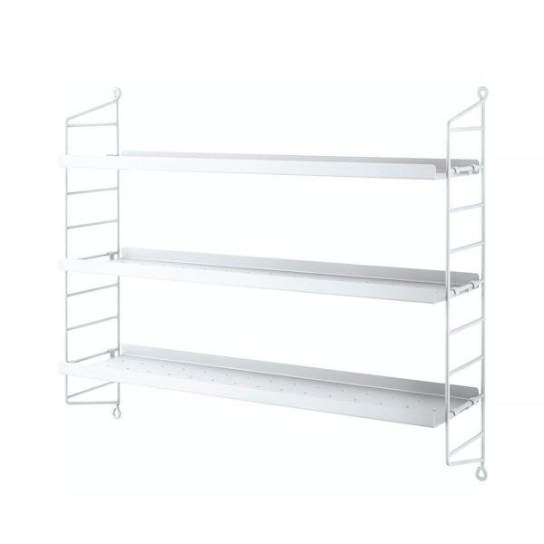 String pocket shelving metal white contemporary designer furniture